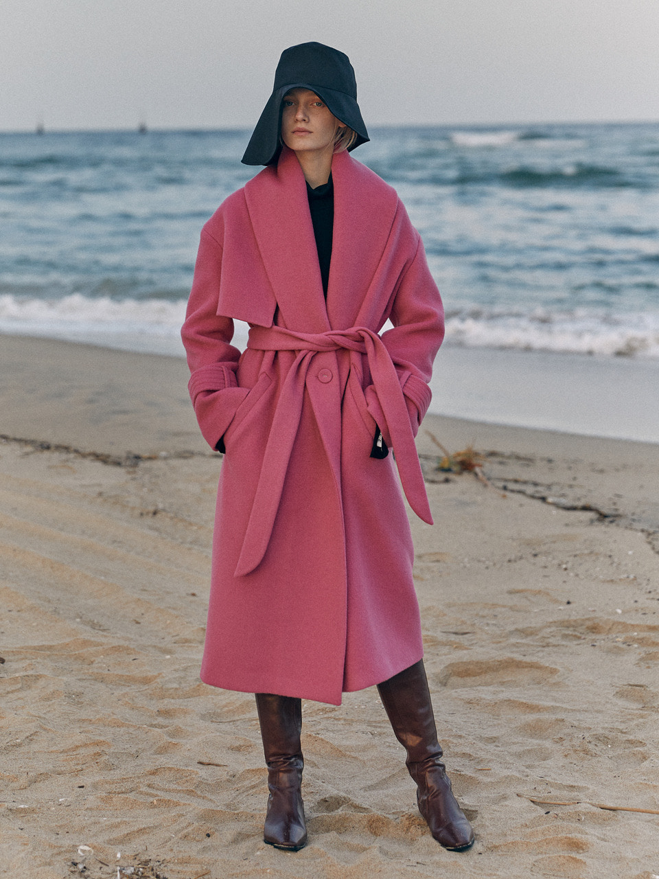 19 WINTER shawl collar wool coat  (pink)
