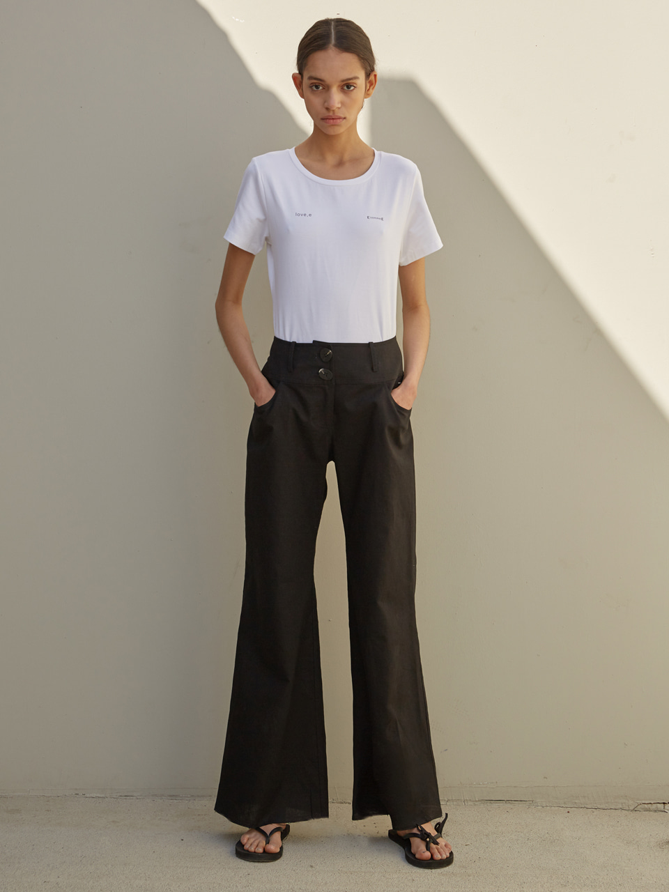 [EVENT] 19 SS comfortable linen wide pants (black)