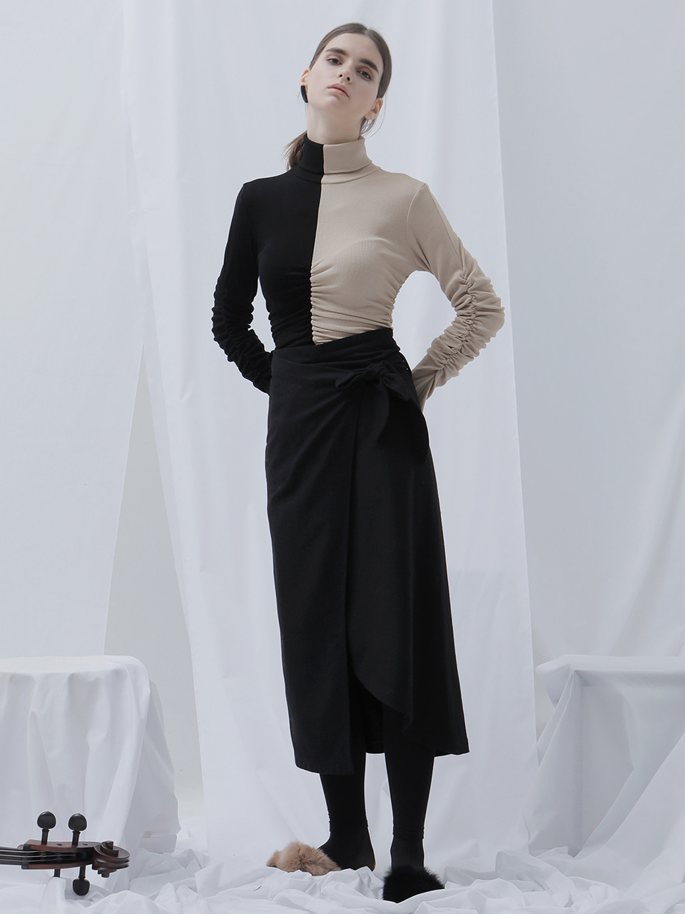 [EVENT] 17 WINTER unbalanced wool wrap-skirt (black)