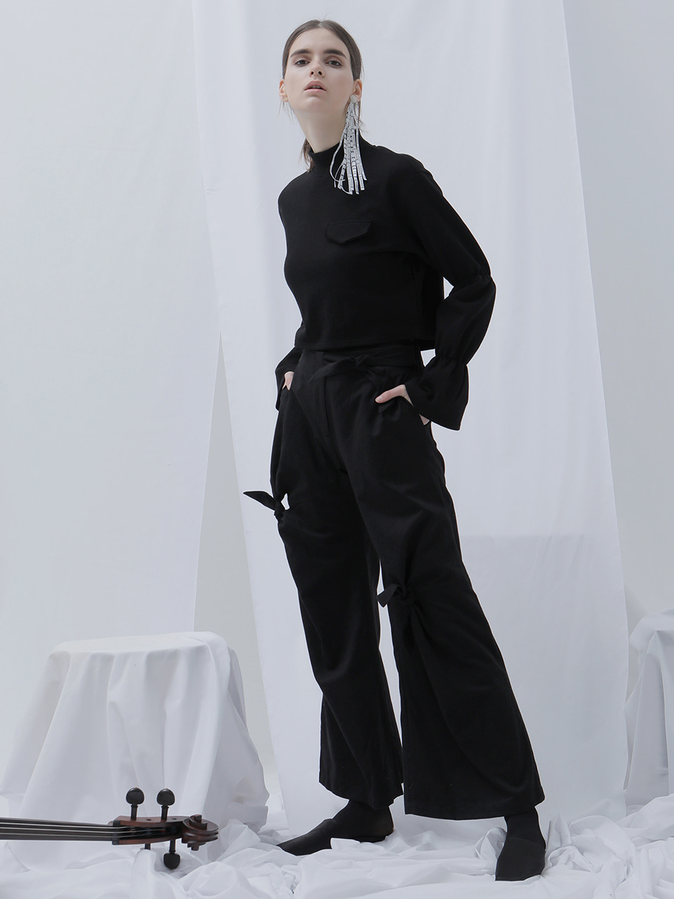 [EVENT] 17 WINTER ribbon wide pants (black)