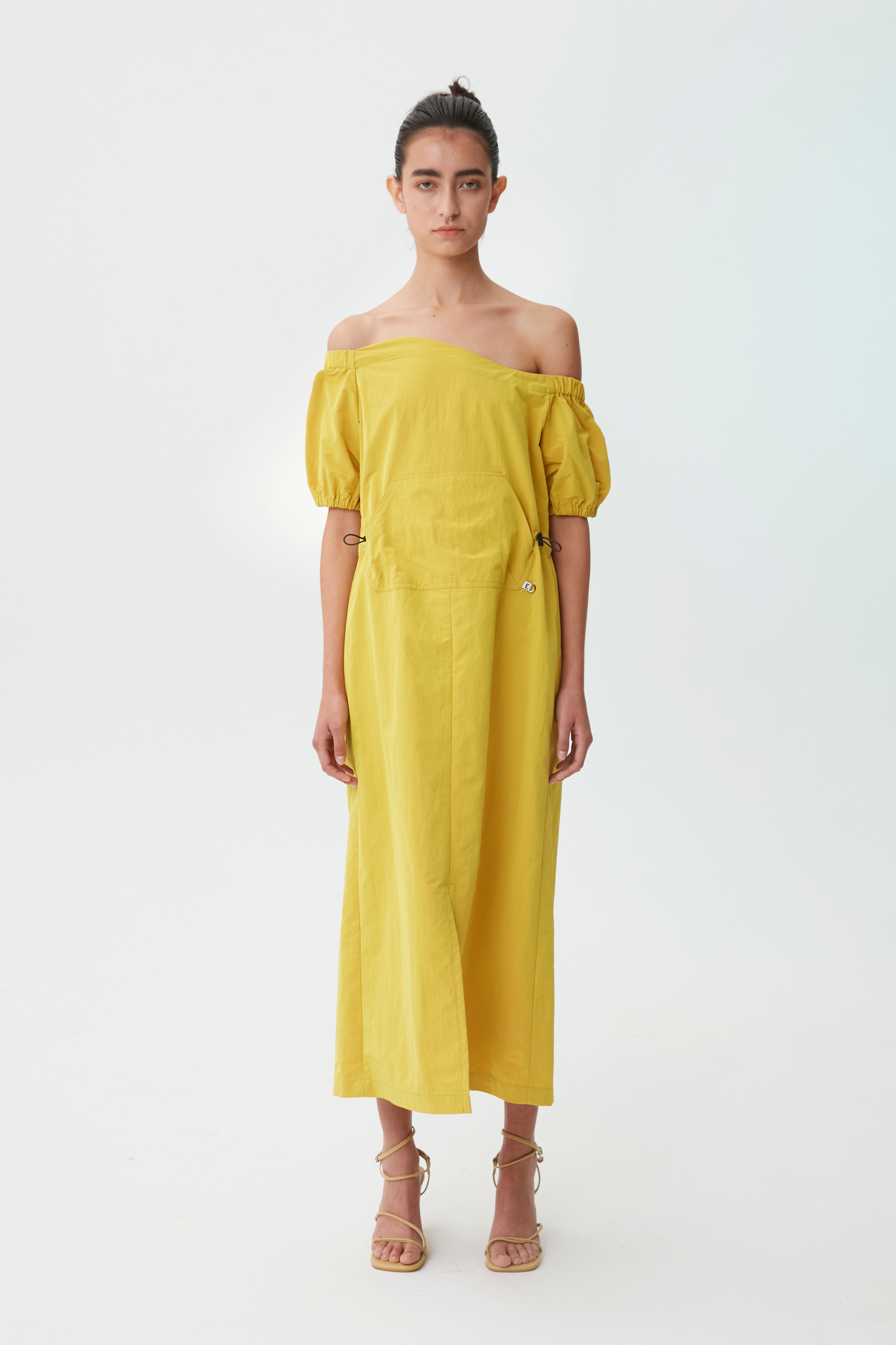 [21 SUMMER] WAVE OFF-THE SHOULDER DRESS (YELLOW)