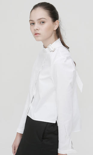 [EVENT] buckle strap blouse (white)