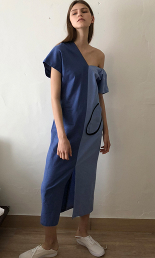 [김진경 착용] 18 SS big pocket unbalanced linen dress (blue)