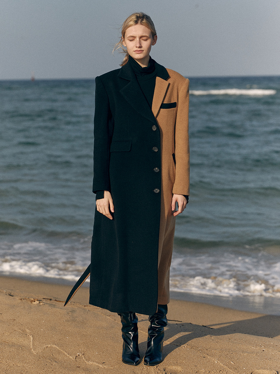 19 WINTER unbalanced tailored wool long coat (beige+black)