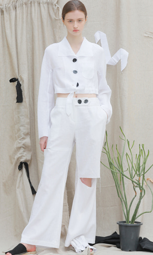 17 SS slit wide linen pants (white)