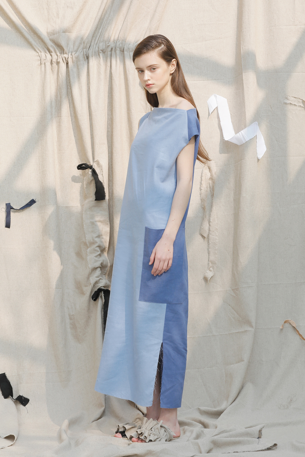 [EVENT] 17 SS big pocket linen long dress (blue)