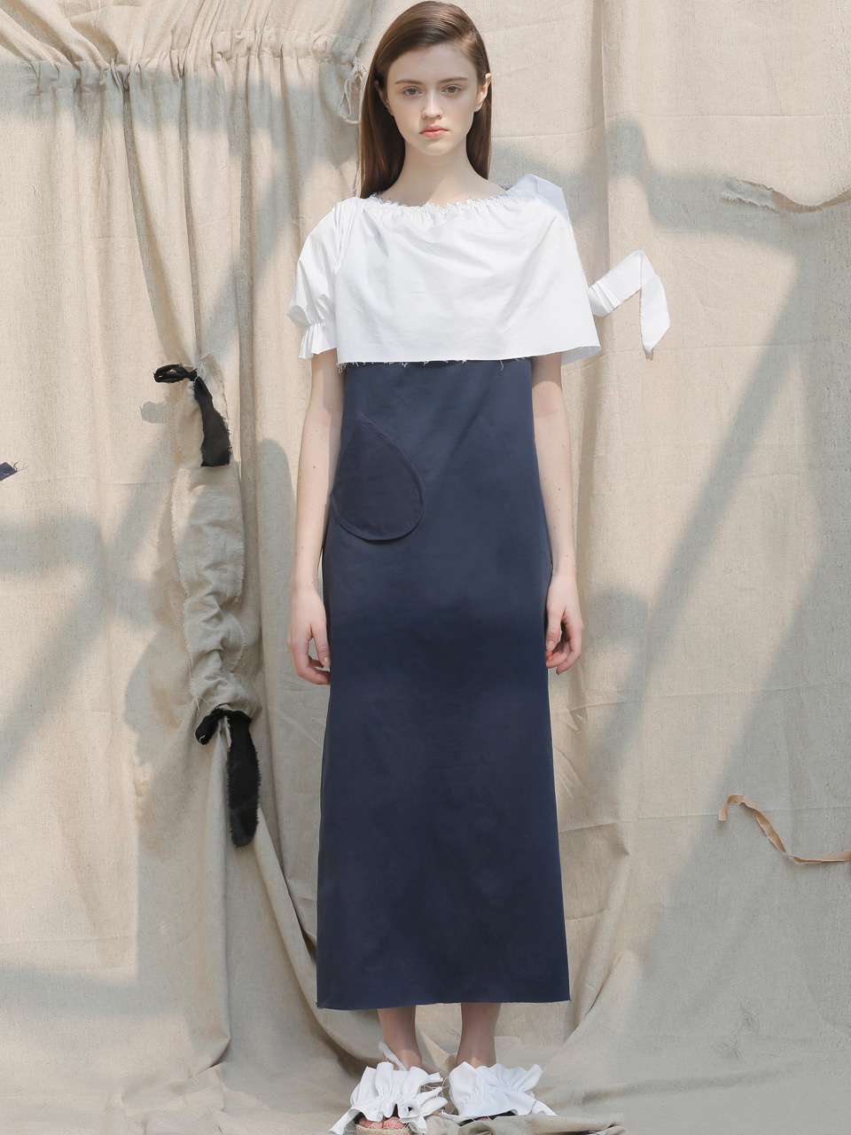 [EVENT] 17 SS cape long dress (navy+white)