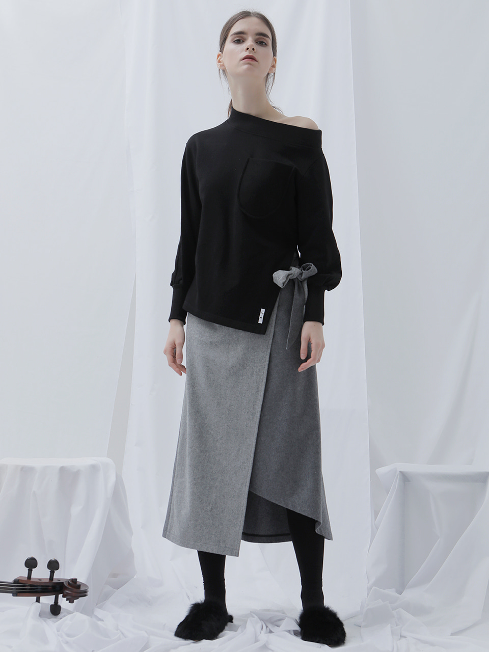 [EVENT] 17 WINTER unbalanced wool wrap-skirt (gray)