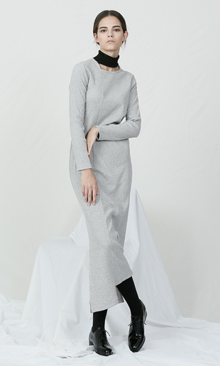 cut-out turtle neck long dress (gray)