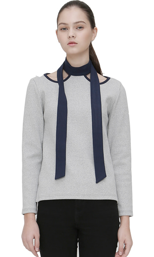 [EVENT] cut out halter-neck t-shirt (gray+navy)